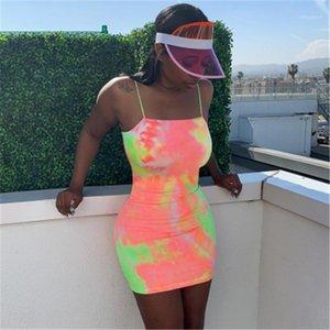 Dye-Minikleid Frauen Spaghetti-Bügel-Kleid-Sommer-Mode 2019 Street Neon dünne dünne Sleeveless Kleider Bodycon Sexy Tie