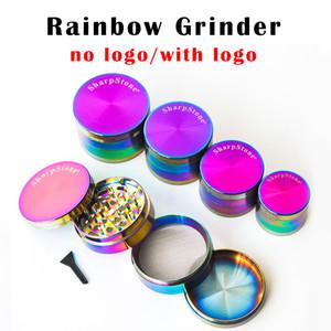 DHL Gratuito Rainbow Grinder Herb Grinder 40 mm 50 mm 55 mm 63 mm 4 capas amoladora de tabaco Material de aleación de zinc Láser de color de arco iris amoladora