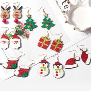 Père Noël Bonhomme de neige Elk Boucles d'oreilles Bottes Arbre de Noël Goutte Dangle Boucle d'oreille 7styles pour Femmes Filles Bijoux XMAS Cadeaux Wholesales