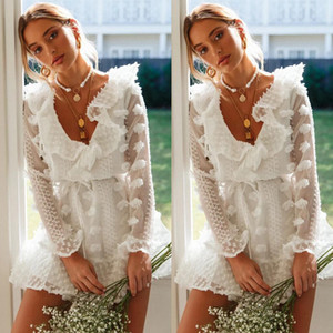 Women who wear skirts in summer, luxury designer women, European and American new autumn sexy perspective, 2019 V-neck lace long-sleeved dre