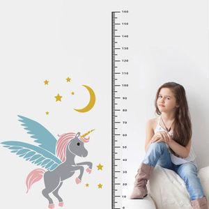 Los nuevos niños del unicornio de PVC de pared pegatinas verdes decoración del dormitorio del sitio de niños de altura
