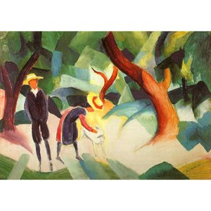 Abstract paintings Children with Goat August Macke artwork for office wall decor large canvas hand painted