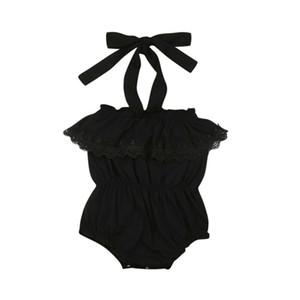Kız Siyah tulum Dantel Sling Halter Vücut Yaz Tek Parçalar Bodysuit Tulum Bebek Kız Bebek Giyim En Sunsuit Kıyafet Takımları