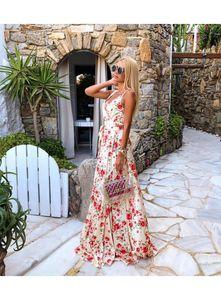 2020 günstige Sommer Blumendruck lange Party Kleider Sexy Frauen Strand A-Linie Maxi Vintage Kleid Spaghetti Prom Abend Casual Kleid LLF2095