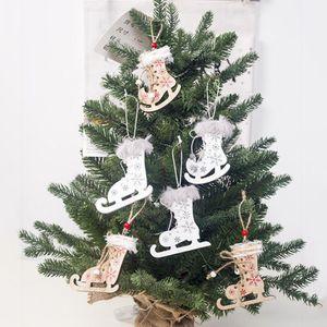 3PCS 크리스마스 홈 DIY 장식 펜던트 트리 장식 나무 스케이트 스키 신발 펜던트 크리스마스 눈송이 그린
