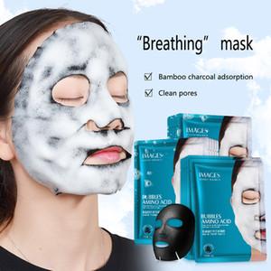 Máscaras 1pc Aminoácidos bolha máscara profunda dos poros limpa de carvão de bambu cara preta clareamento da pele Máscara facial Tratamento Cuidados