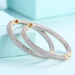 1 пар Роскошных Циркон инкрустированной ухи обручей Женщины ухо кольцо круглой шампанский цвет золото серьга Модные украшения для женщин