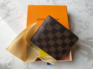 Paris diseñador a cuadrosLouis Vuittonmens billetera hombres famosos de lujo carteras de cuero múltiple pequeña Cartera plegable especial corto con la caja