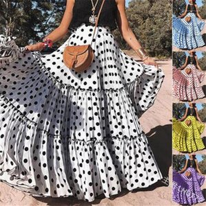 Ruched Макси юбка вскользь женщин Дизайнерские платья Полька Dot Женщины Летние платья Модные цвета конфеты Щитовые