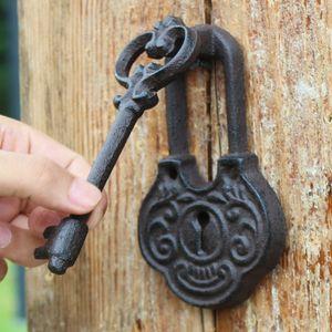 2 Pieces Key Design Cast Iron Door Knocker with Handle Doorknocker Door Latch Metal Door Gate Decoration Antique Retro Vintage Metal Crafts
