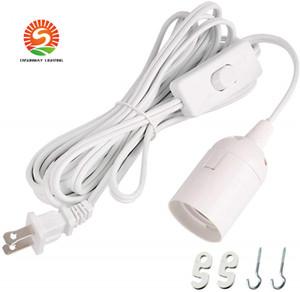 Longa Lanterna Pendant Lâmpada Luz cordão 12 pés cabo de extensão com interruptor on / off ou Switch Gear para E26 / E27 Base de lâmpadas