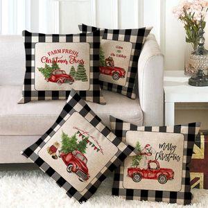 45x45cm Noel Yastık Kılıfı Merry Christmas Ekose Atma Yastık Kapak Noel ağacı Elk Araba Koltuk Yastık Kapak Ev Dekorasyon DBC VT1161