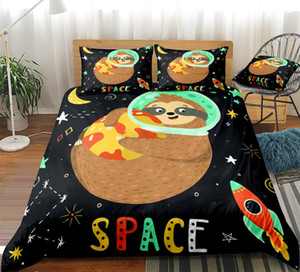 3PCS Sloth conjunto de cama dos desenhos animados capa do edredon Espaço edredon cobrir Set Rainha Dropship Início Têxteis Crianças Meninos Meninas foguete Star Ball