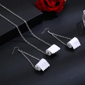 Roll Paper Dangle Drop Pendientes Collar Set Divertido 3D Tejido Geométrico Pendientes de Gota Toalla de Papel Creativo Pendientes de Papel Higiénico para Las Mujeres