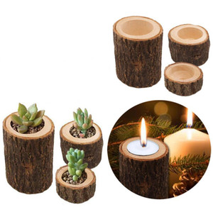 Manual Wooden Candlestick Pillar Holder Design Candle Stand Plant Flower Pot Wooden ornaments for Home Weddings Bar Holiday Decoration