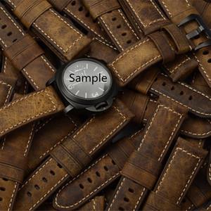 MERJUST 22 milímetros 24 milímetros Itália Brown Crazy Horse Couro pulseira pulseira para PAM PAM111 PAM441 Big Pilot Watch Strap