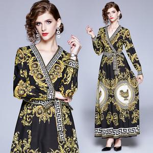 New 2020 Palace Retro beiläufige Maxi Kleid-Frauen Damen Luxus mit V-Ausschnitt Langarm-Schärpen A-Line-Party Robe Kleider Vestidos Großhandel Drucken