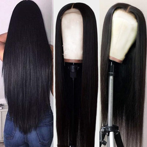 Natural Long Silky Straight Black Color Brazilian Full Lace Front Wig High Density Heat Resistant Glueless Synthetic Wigs for Women