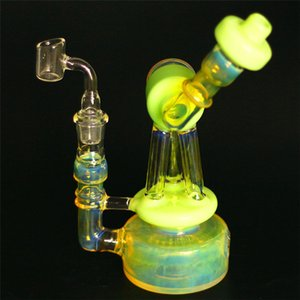 Unique Sidecar Glass Bongs Dab Rig Inline Perc Heady Glass Water Pipe Bongs Robot Fumed Hanger Pipes 14mm Joint Dab Oil Rigs Banger