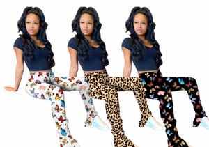 Mulher designer Borboleta e Leopard Stacked Alargamento Pants Elastic cintura Casual Longo Fino Dividir Calças Mulheres cintura alta calças regulares