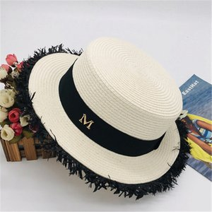 New spring summer hot woman style Flat top straw hat casual fashion brim visor hat Wholesale HN343