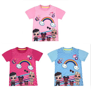 2020 new cartoon girl Creative image baby T-shirt Summer short girls T-shirt good quality 4 colors retail zx21