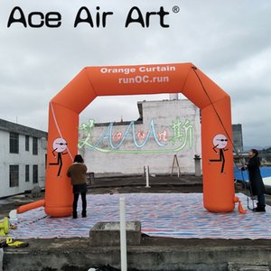 Free printing logo inflatable arch,orange colored start finish line for sport race,events