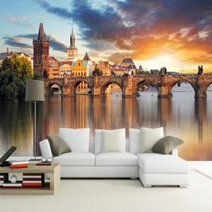 사진 벽지 아름다운 유럽 건축 일몰 풍경 3D 벽화 벽화 거실 배경막 벽화 파팔 Mural 3D