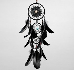 Dreamcatcher Handmade Dream Catcher Net With Feathers Black Wind Chimes Wall Hanging Car Pendant Ornament Party Gift Home Decoration GB1699