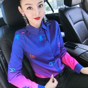 Botón de pista de lujo Camisas delgadas atractivas de seda del satén de las mujeres largas de la manga de la solapa de cuello Impreso blusa de las señoras más el tamaño de la camisa del diseñador de oficina Tops