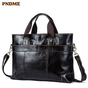 Vintage genuine leather men's briefcase business real cowhide lawyer handbags handmade 14 inch laptop shoulder messenger bags