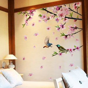 Tree Branch Flower Birds Wall Stickers DIY Peach Blossom Wall Decals for House Living Room Bedroom Decoration
