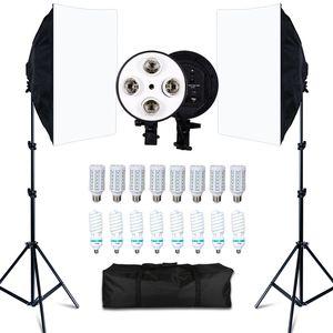 Photo Studio 8 LED 20W Softbox Kit Photographic Lighting Kit камеры Фото аксессуары 2 Light Stand 2 Softbox для камеры Фото T200610
