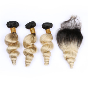 #1B 613 Blonde Ombre Brazilian Loose Wave Hair Bundles with Closure Dark Roots Blonde Wavy Virgin Human Hair 4x4 Free Part Lace Closure