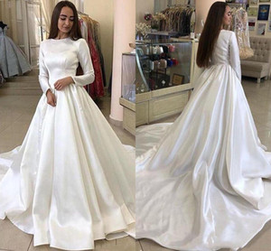 2020 Modest Mermaid Wedding Dresses stain elegant Sweep Train Boho Wedding Dress Bridal Gowns Plus Size Sleeves abiti da sposa