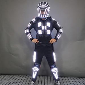 P99 Ballroom dança levou trajes leves capacete luminosa luz armadura robô homens terno dj clube usa bar roupa pano brilhante levou usar adereços partido