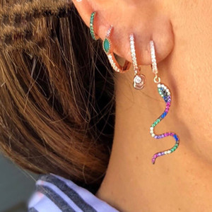 rainbow cz dangle earring snake charm cute animal fashion women jewelry rose gold silver plated colorful cz women jewelry