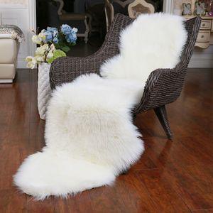 ROWNFUR douce artificielle en peau de mouton Tapis pour enfants Salon Chambre Chaise Couverture Fluffy Poilu Anti-Slip en fausse fourrure Tapis Tapis T200111