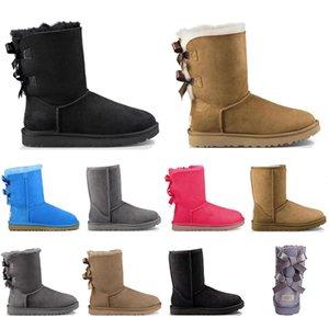 UGG Avec des chaussettes de haute qualité pour les femmes bottes australia neige botte cheville classique arc court en fourrure hiver triple femmes mode rouge marron noir chaussure