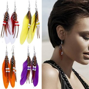 Bohemia tassels Feather Earring with beads mix colors Fashion personality earrings accessories Jewelry 2020 New Style