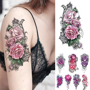 Waterproof Temporary Tattoo Sticker Pink Purple Rose Flowers Flash Tattoos Lace Peony Lotus Body Art Arm Fake Sleeve Tatoo Women