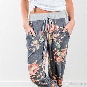 Rahat Pantolon İki Renk Örgü Çiçek Baskılı Polyester Elyaf İpli Uzun Pantolon Ladies Home Giyim Fabrikası Direct13ys E1