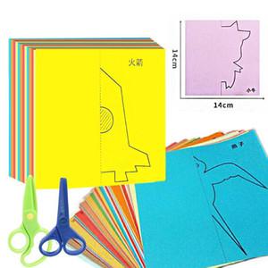 48pcs / set Kinder Cartoon Farbe Papier falten und Schneiden Spielzeug / Kinder Kingergarden Art Craft DIY pädagogische Spielwaren