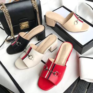 2020 Sommer neue europäische Lady Pantoffel Metallschnalle echte Leder Art und Weise Frauen Pantoffel Frauen mittlere Ferse Sandalen Größe US3.5-US11 42EUR