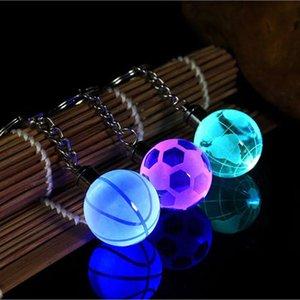 Portachiavi di cristallo ha condotto la luce di Keychain Portachiavi Calcio Basket Terra Ciondolo portachiavi per Favorite Sportivo Gifts