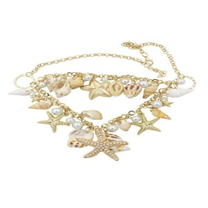 Sea Shell Starfish Faux Pearl Necklace Fashion Jewelry