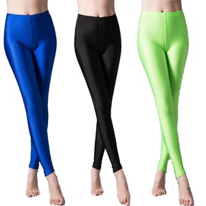 Of High-elasticity Ankle-length Female Style Skinny Candy Fluorescent Pants Milk Silk Glossy Calca Legging Feminina