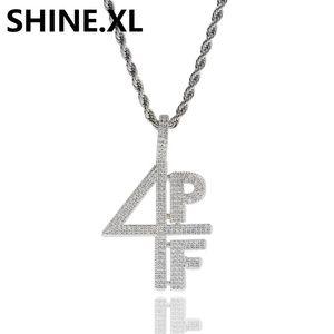 Chapado en oro plateado 4PF Collar colgante Iced Out Lab Diamond Número de letra Joyería de DJ Rapper Cadena de estilo callejero