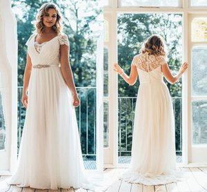 Plus Size Chiffon A Line Wedding Dresses Summer Beach 2020 V Neck Lace Cap Sleeve Bridal Gowns Floor Length Pleats Robes De Mariee AL6466
