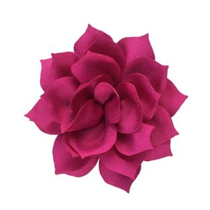 10pcs / lot 3.2 '' Büyük Yapay şifon kumaş Lotus Çiçeği Çocuk Şapkalar Saç Bantlar Aksesuarları Kız Parti Dekorasyon